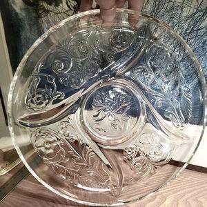 Vintage Pressed Glass Divided Glass Platter